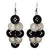 Black & White Plastic Button Drop Earrings (Silver Tone) - 8cm Drop
