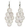 White Plastic Button Drop Earrings (Silver Tone) - 8cm Drop