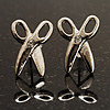 Tiny Scissors Diamante Stud Earrings (Silver Tone)