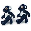Small Dark Blue Diamante Teddy Bear Stud Earrings