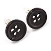 Small Black Plastic Button Stud Earrings (Silver Tone) -11mm Diameter