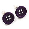 Small Purple Plastic Button Stud Earrings (Silver Tone) -11mm Diameter