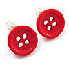Small Red Plastic Button Stud Earrings (Silver Tone) -11mm Diameter