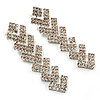 Clear Crystal Zigzag Drop Earrings (Silver Tone)