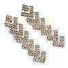 Clear Crystal Zigzag Drop Earrings (Silver Tone)