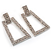 Crystal Geometric Square Hoop Earrings (Silver Tone)