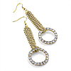 Sparkling Chain & Diamante Circle Drop Earrings (Gold Tone Metal) - 8cm Drop