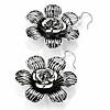 Silver Tone Textured Floral Drop Earrings - 5.5cm Drop