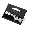 Crystal & Simulated Pearl Jewelled Stud Earrings (Silver Tone)