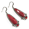 Vintage Red Oval Acrylic Drop Earrings (Antique Silver Tone) - 5cm Drop