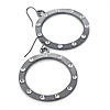 Polished Gun Metal Diamante Hoop Earrings - 4.5cm Diameter