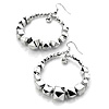 Metallic Silver Bead Hoop Drop Earrings - 5cm Diameter
