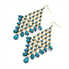 Long Turquoise Coloured Acrylic Bead Chandelier Dangle Earrings (Gold Tone) -13cm Drop