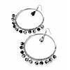 Jumbo Silver Tone Black Acrylic Bead Hoop Earrings - 7cm Diameter
