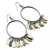 Large Oval-Shaped Dangle Hoop Earrings (Black &amp; Gold Tone) - 9.5cm Drop