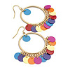 Multicoloured Sequin Hoop Earrings (Matte Gold Tone) - 3.5cm Diameter