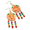 Multicoloured Bead Shell Drop Earrings (Gold Tone) - 8cm