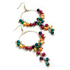 Multicoloured Wood Bead Drop Hoop Earrings ( Gold Tone) - 11cm Drop