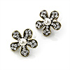 Charming Diamante Pearl Daisy Stud Earrings (Burn Gold Metal) - 2.5cm Diameter