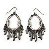 Gun Metal Teardrop Crystal Hoop Earrings - 6cm Drop