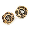 Charming Diamante Daisy Stud Earrings (Burn Gold Tone) - 2.2cm Diameter