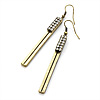 Vintage Crystal Bar Drop Earrings (Bronze Tone) - 7.8cm Drop
