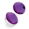 Deep Purple Round Faceted Acrylic Stud Earrings - 3cm Diameter
