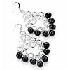 Black Bead Chandelier Earrings (Silver Tone) - 7.5cm Drop
