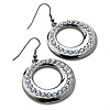 Gun Metal Diamante Hoop Drop Earrings - 4cm Diameter