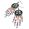 Multicoloured Bead Chandelier Earrings (Burn Silver Tone) - 9.5cm Drop