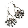 Gun Metal Bead Gothic Style Drop Earrings - 7cm Drop
