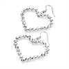 Diamante Heart Drop Earrings (Silver Tone) - 5cm Drop