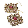 Square Shape Jewelled Filigree Drop Earrings (Burn Gold &amp; Pink) - 7cm Drop