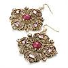 Square Shape Jewelled Filigree Drop Earrings (Burn Gold & Pink) - 7cm Drop