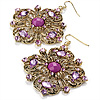 Square Shape Jeweled Filigree Drop Earrings (Burn Gold &amp; Lilac) - 7cm Drop