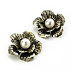 Large Bronze Tone Dimensional Flower Stud Earrings - 4cm Diameter