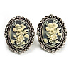 Antique Silver Floral Cameo Clip-On Earrings - 35mm Length