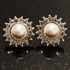 Snow-White Crystal Faux Pearl Stud Earrings (Silver Tone) -2cm Diameter