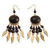 Dark Brown Wood Feather Dangle Earrings (Gold Metal)