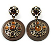Vintage Round Shell Amber Coloured Resin Bead Drop Earrings (Bronze Tone)