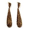 Antique Gold Swarovski Crystal Teardrop Earrings - 7.5cm Drop