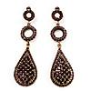 Antique Gold Purple Swarovski Crystal Teardrop Earrings - 8cm Drop