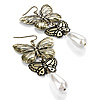 Bronze Tone Butterfly Drop Earrings - 8cm Length