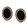 Oval Black Enamel Diamante Clip On Earrings (Silver Tone)