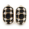 C-Shape Black Enamel Crystal Floral Clip On Earrings In Gold Plated Metal - 22mm Length