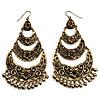 Long Bronze Tone Floral Chandelier Earrings - 10cm Drop