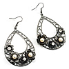 Oversized Filigree Hoop Floral Drop Earrings - 7cm Length (Gun Metal)