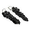 Black Acrylic Bead Cluster Drop Earrings - 9.5cm Length