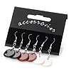 Set Of 3 Shell Drop Earrings (Black, Red &amp; White) - 4cm Length