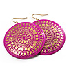 Large Deep Pink Hammered Disk Drop Earrings (Gold Tone) - 5.5cm Diameter